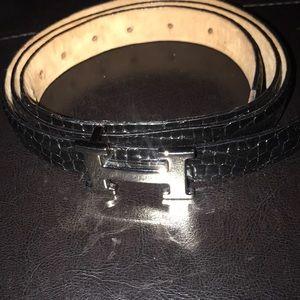 Belt leather snake skin belt